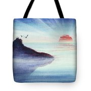 Distant Shoreline Sunrise Watercolor Painting Tote Bag by Michelle Wiarda