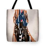 Doctor Who Inspired Tenth Doctor's Typographic Artwork Tote Bag by Ayse Deniz