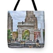 Dog Walking At Washington Square Park Tote Bag by Randy Aveille