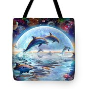 Dolphins by Moonlight Tote Bag by Adrian Chesterman
