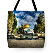 Dome Of The Rock Hdr Tote Bag by David Morefield