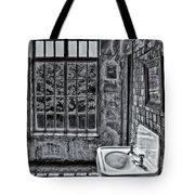 Dormer Bathroom Side View Bw Tote Bag by Susan Candelario
