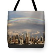 Double Rainbow Over Nyc Tote Bag by Susan Candelario