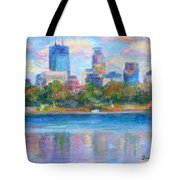 Downtown Minneapolis Skyline From Lake Calhoun Tote Bag by Quin Sweetman