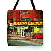 Downtown Montreal Memories Ben's Restaurant Deli  Le Fameux Smoked Meat Produits By Carole Spandau Tote Bag by Carole Spandau