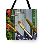 Dragonflies In Full Salute Tote Bag by Nancy Patterson