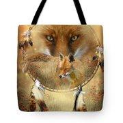 Dream Catcher- Spirit Of The Red Fox Tote Bag by Carol Cavalaris
