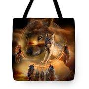 Dream Catcher - WolfLand Tote Bag by Carol Cavalaris