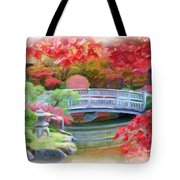 Dreaming Of Fall Bridge In Manito Park Tote Bag by Carol Groenen