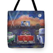 Drive-in Movie Theater Tote Bag by Linda Mears