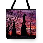 Durell's Independent Battery D And 48th Pa Volunteer Infantry-a1 Sunset Antietam Tote Bag by Michael Mazaika