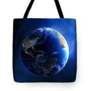 Earth And Galaxy With City Lights Tote Bag by Johan Swanepoel
