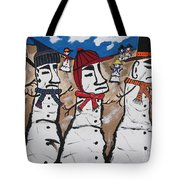 Easter Island Snow Men Tote Bag by Jeffrey Koss