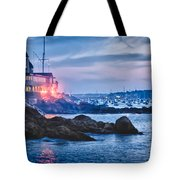 Eastern Yacht club starts the Marblehead harbor illumination off Tote Bag by Jeff Folger