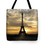 Eiffel Tower At Sunset Tote Bag by Debra and Dave Vanderlaan