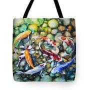 Eight Koi Fish Playing With Bubbles Tote Bag by Zaira Dzhaubaeva