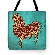 Elegant Decorative Kitchen Art Damask Rooster Pattern Tote Bag by Megan Duncanson