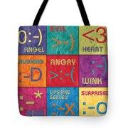 Emoticons Patch Tote Bag by Debbie DeWitt