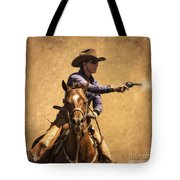 End of Trail 2012 Mounted Shooting Tote Bag by Priscilla Burgers