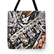 Engine For Parts - Automotive Recycling Tote Bag by Crystal Harman