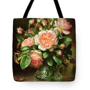 English Elegance Roses In A Glass Tote Bag by Albert Williams