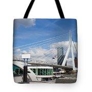 Erasmus Bridge in Rotterdam City Downtown Tote Bag by Artur Bogacki