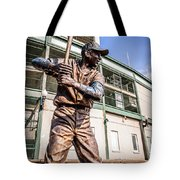 Ernie Banks Statue At Wrigley Field  Tote Bag by Paul Velgos