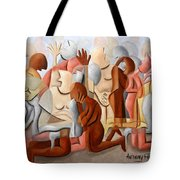 Every Knee Shall Bend Every Mouth Shall Confess Jesus Is Lord Tote Bag by Anthony Falbo