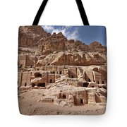 facade street in Nabataean ancient town Petra Tote Bag by Juergen Ritterbach