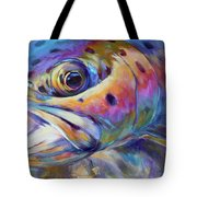 Face of A Rainbow- Rainbow Trout Portrait Tote Bag by Savlen Art