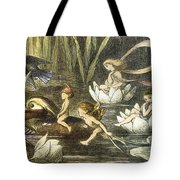 Fairies And Water Lilies Circa 1870 Tote Bag by Richard Doyle