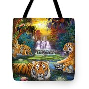 Family At The Jungle Pool Tote Bag by Jan Patrik Krasny