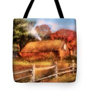 Farm - Barn - Our Cabin Tote Bag by Mike Savad