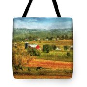 Farm - Cow - Cows Grazing Tote Bag by Mike Savad