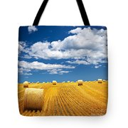 Farm Field With Hay Bales Tote Bag by Elena Elisseeva