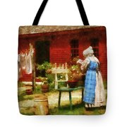 Farm - Laundry - Washing Clothes Tote Bag by Mike Savad