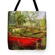Farm - Tool - A Rusty Old Wagon Tote Bag by Mike Savad