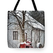 Farmall Tractor in Winter Tote Bag by Timothy Flanigan