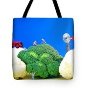 Farming On Broccoli And Cauliflower Tote Bag by Paul Ge
