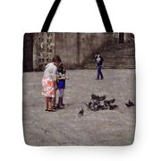 Feeding Pigeons In Santiago De Compostela Tote Bag by Mary Machare