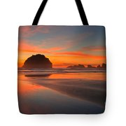 Fiery Bandon Beach Tote Bag by Adam Jewell