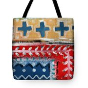 Fiesta 3- Colorful Pattern Painting Tote Bag by Linda Woods