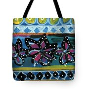 Fiesta In Blues- Abstract Pattern Painting Tote Bag by Linda Woods