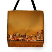 Fire In A Chicago Night Sky Tote Bag by Ken Smith