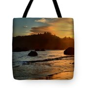 Fire Over Trinidad Beach Tote Bag by Adam Jewell