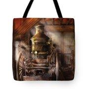 Fireman - Steam Powered Water Pump Tote Bag by Mike Savad