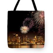 Fireworks Over Boston Harbor Tote Bag by Susan Cole Kelly