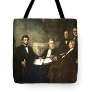 First Reading Of The Emancipation Proclamation Of President Lincoln Tote Bag by Georgia Fowler