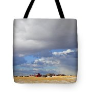 First Snow On Storybook Farm Tote Bag by Theresa Tahara