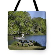 Fishing At Ponce De Leon Springs Fl Tote Bag by Christine Till